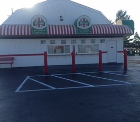 Parking lot for Rita's Italian Ice after being paved
