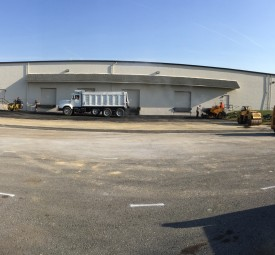 Large commercial parking lot before paving