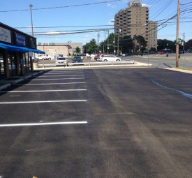 commercial Parking lot for shopping center after sealing