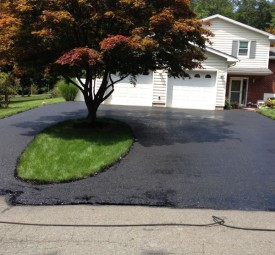Driveway after being paved with tree in the center