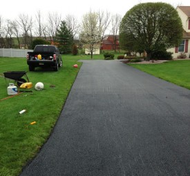 Driveway before being paved with trees at the end of it